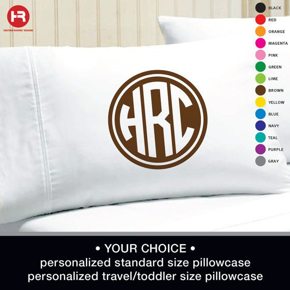Monogram Pillowcase  Circle Monogrammed by HeatherRogersDesigns, $16.00