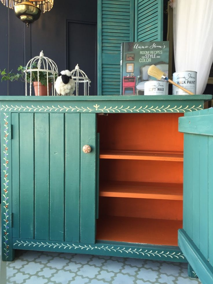 A Pop of Barcelona Orange Chalk Paint® on a painted cupboard by Annie Sloan Stockist Melanie Anderson of The Painted Bench Hamilton | Canadian Home Trends