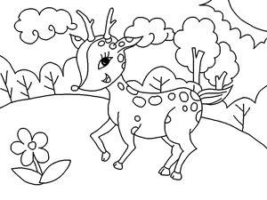 çocuklar için ücretsiz yazdırılabilir geyik karikatür boyama