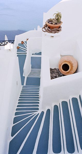 European photo of blue stairs in Santorini, Greece by Dennis Barloga | Photos of Europe: Fine Art Photographs by Dennis Barloga