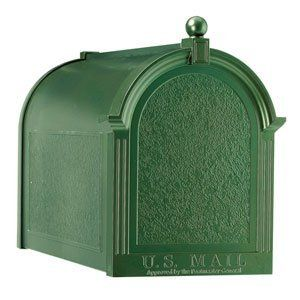 Whitehall Mailboxes: Customized Green Mailbox by Whitehall Mailboxes. $182.99. Increase the curbside appeal of your home with our Whitehall Customized Mailbox. Mix and match options to create the perfect mailbox for your home. Crafted of die cast rust free aluminum and finished in a weather resistant powder coat paint, your new mailbox will continue to look as fresh as the day it was manufactured. Buy a single mailbox or save even more with our neighborhood group rates whi...