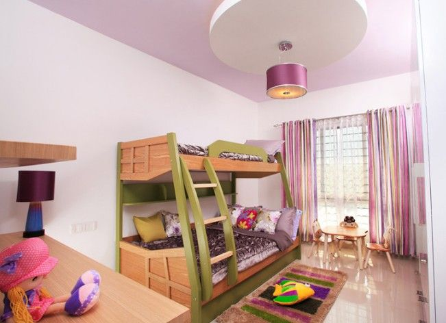 Contemporary Kids Bedroom With Stripe Curtains.