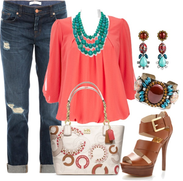 """Coral and turquoise"" by elainel472 on Polyvore"