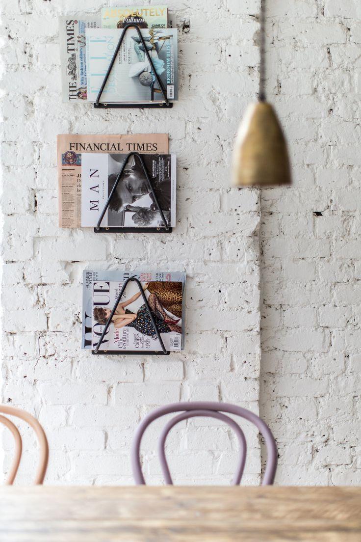 triangle magazine racks