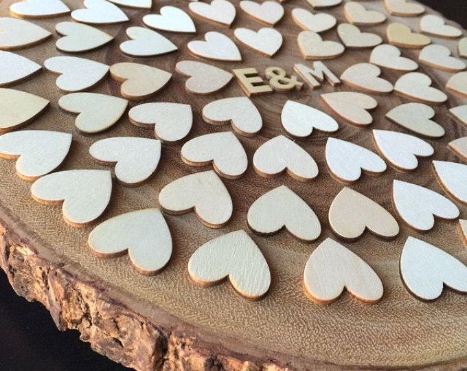 Acacia madera boda libro alternativa - signo en rústica libro de visitas - 70 corazones - 100 personas