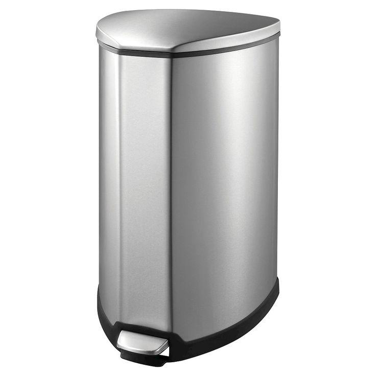 Eko Grace Stainless Space Saver Step Bin - Steel/Black (35 litre), Silver/Black