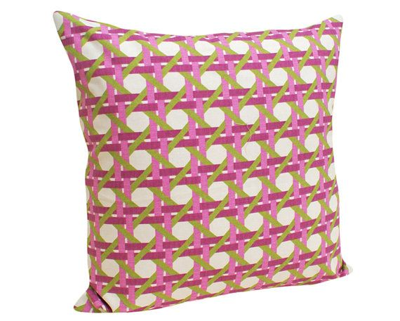 Geometric Trellis Pillows in Green Pink Purple by ...