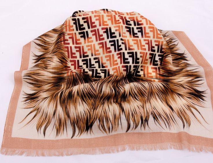 Шарф длинный на шею Fendi из шерсти с хлопком, коричневый с логотипами. Новая модель. Размер 180х65см #19327