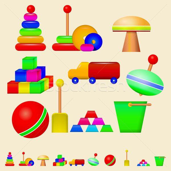 Stock fotó: Illusztráció · gyerekek · játékok · színes · szett · vektor