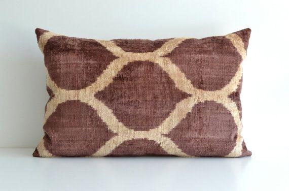 Brown Ikat Pillow Ikat Pillows Decorative Lumbar by pillowme