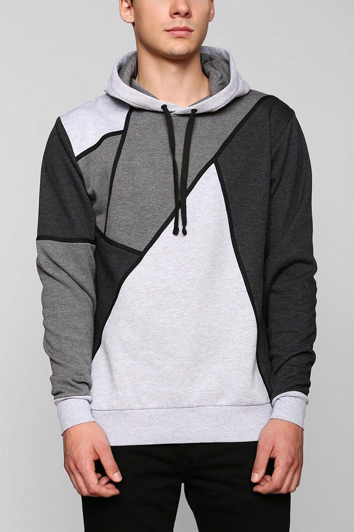 Grey Colorblock Pullover Hoodie