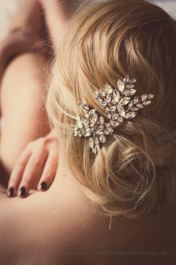 wedding bridal hair comb, bridal headpiece, Miss Nanna rhinestone crystal comb. $99.00, via Etsy.