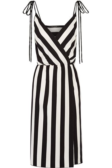 Marc Jacobs - Wrap-effect Striped Crepe Dress - Black