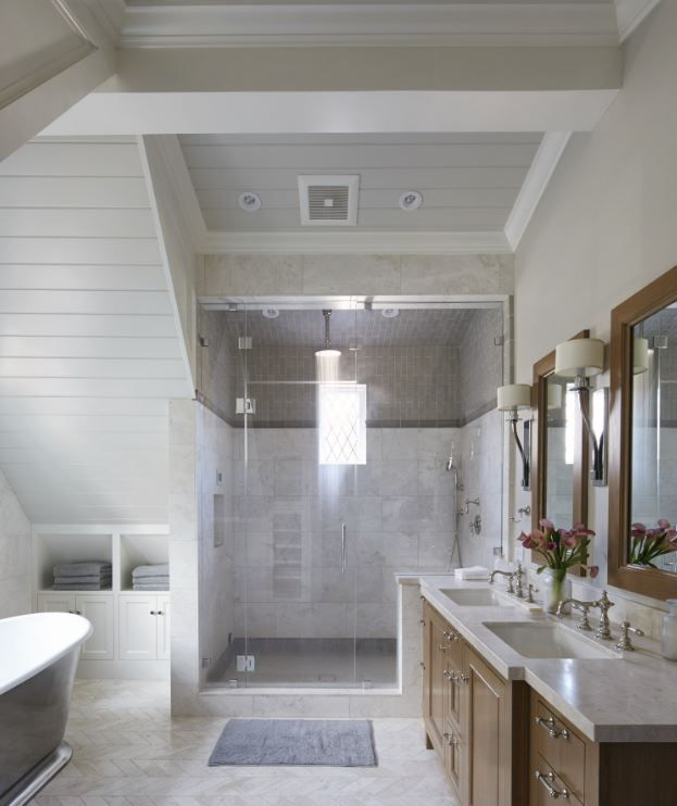 Check Out This Bathroom That Offers Two Separate Areas For A Soaking Tub Steam