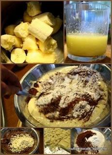 notatki kulinarne: Mufiinki czekoladowe bananowe z białą czekoladą