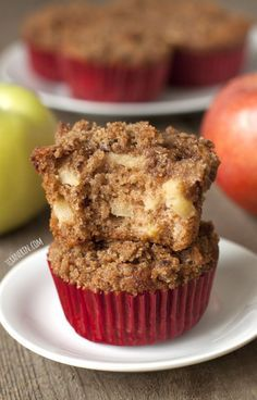 Cinnamon Apple Muffins (100% Whole Grain)  - super moist and flavorful ! These muffins are made healthier with 100% whole grains, olive oil, and less sugar than a typical muffin !  Ready in less than 30 min.