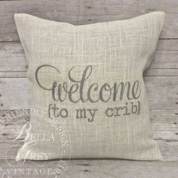 Burlap pillow cover | Welcome to my crib Select from your choice of pillow size & burlap color: Slate, Natural, Ivory (ivory shown in listing