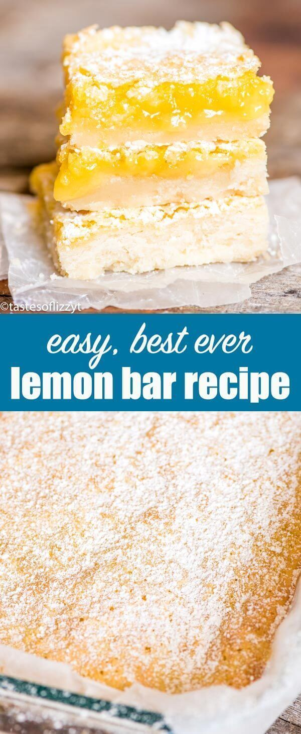 Bright, tangy lemon bars recipe with a shortbread crust and lemon custard filling. A simple powdered sugar dusting makes these fruit bars a classic! Lemon Bars Recipe {Easy Lemon Dessert with Shortbread Crust} #lemon #dessert  via @tastesoflizzyt