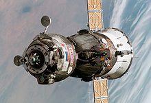 La Soyuz TMA-6 aproximándose a la Estación Espacial Internacional en 2005.