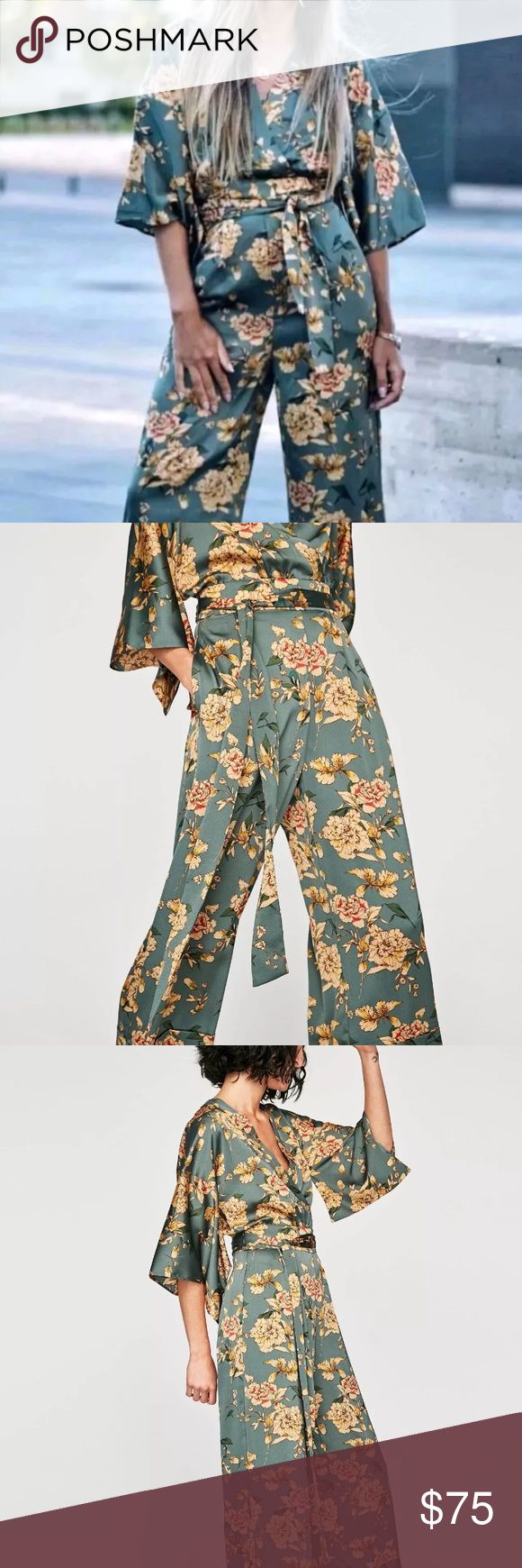 NEW Zara Floral Green Jumpsuit Kimono Printed L This is a beautiful Zara Jumpsuit in size L, new with tags! As seen on many bloggers and on the web Zara Other