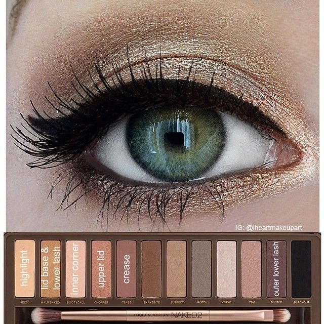 "Decided to make an easy to follow pictorial for my ✨Urban Decay Naked Palette 2 look✨ This simple shimmery gold look is my most ""internet famous"" look and has been repinned on Pinterest over 200k times so far so cool!!! This look is beautiful for any eye color so I thought I would make this so it's easier to follow I will start creating looks using the Naked 3 palette now xoxo #iheartmakeupart #urbandecay #naked2palette"