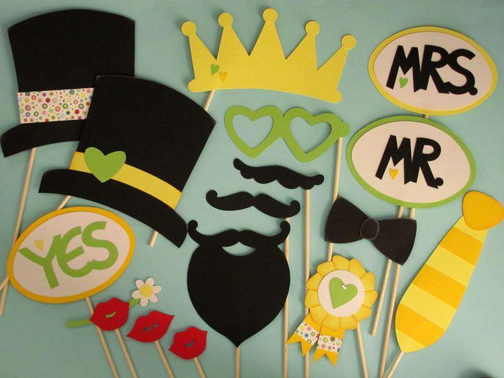 """Photo Booth """"Hochzeit"""" Gelb (Foto-Accessoires) von Piratenbraut auf DaWanda.com"""