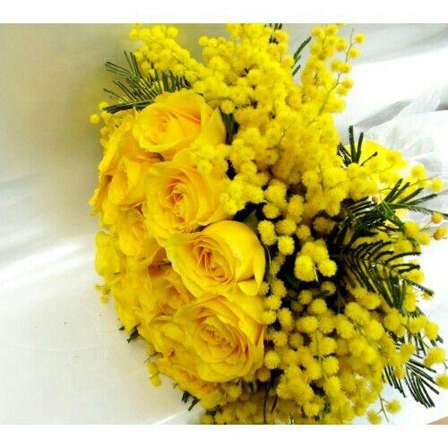 Yellow Roses + Yellow Mimosa Flower + Evergreen Foliage Wedding Bouquet