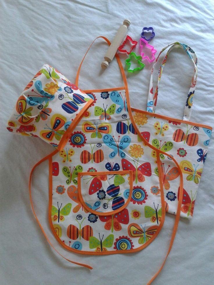 kit de cocinerito delantal de cocina infantil con gorro