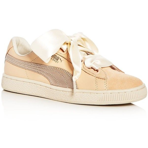 Puma Women's Basket Heart Bauble Leather & Suede Lace Up Sneakers (1.365.620 IDR) ❤ liked on Polyvore featuring shoes, sneakers, beige, leather trainers, puma sneakers, leather lace up sneakers, leather sneakers and puma shoes