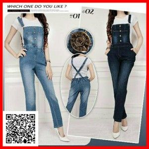 jumpsuit jeans pocket cherry set MTFJ25