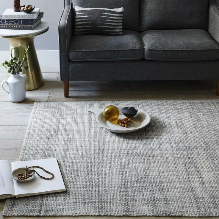 I Recommend Holding Off On Purchasing A Rug Until We Have All Of The Living Room Finalized Mid Century Heathered Basketweave Wool