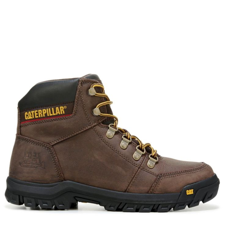 Caterpillar Men's Outline Medium/Wide Soft Toe Slip Resistant Work Boots (Brown Leather)