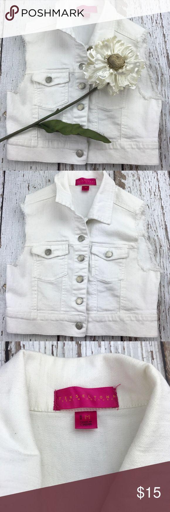 "💕SALE💕White Denim Vest Fabulous 💕SALE💕White Denim Vest 15"" from the top of the shoulder to the bottom 15 1/2"" Inseam armpit to armpit 98% Cotton 2% Spandex Jackets & Coats Vests"