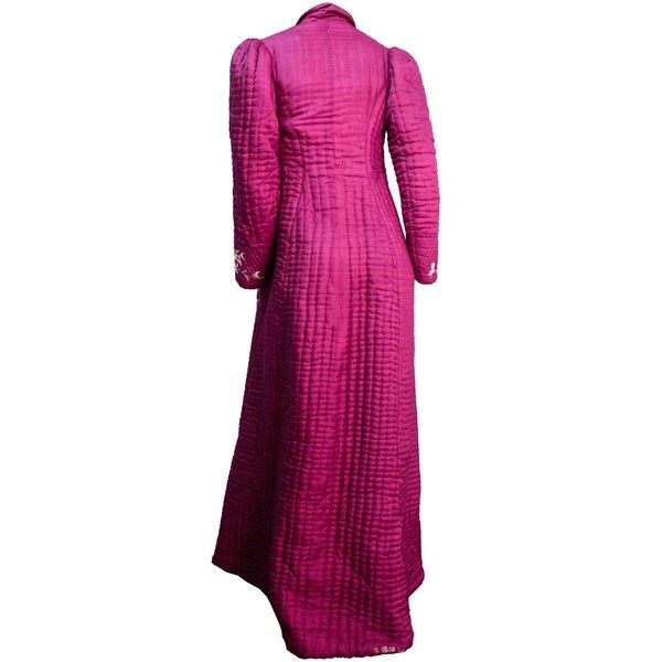 Edwardian Quilted Magenta Embroidered Robe ($3,270) ❤ liked on Polyvore featuring intimates, robes, dressing gown, silk bath robes, silk bathrobe, floor length bathrobe and floor length robe