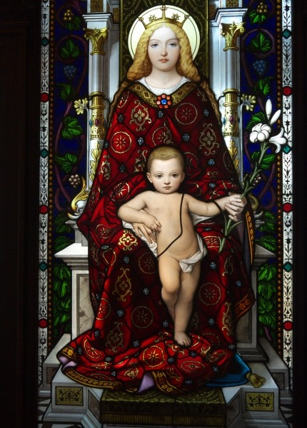 Stained glass madonna and child from the Vatican Museum, photo by Colin Freeman