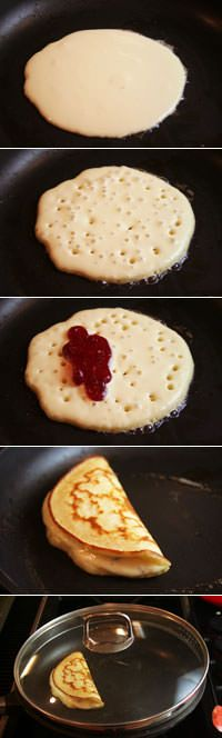 Stuffed Pancakes!  Make Batter a little thinner, cook on a little lower and use a lid. BAM!