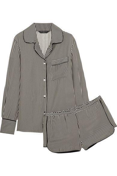 Three J NYC - Jane Striped Silk Pajama Set - Black - x small