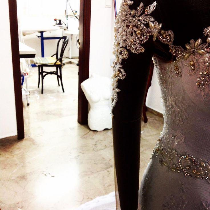 God is in the details #bridal #weddingdresses #wedding #sheer #handbeading #handmade #applique #longsleeves
