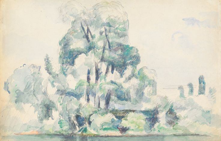 thusreluctant:  A Stand of Trees along a River Bank by Paul Cézanne