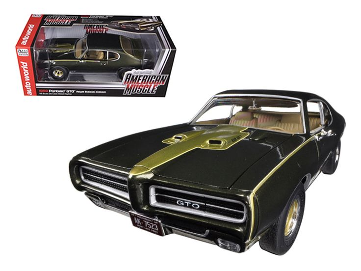 1969 Pontiac GTO Royal Bobcat/Royal Pontiac Limited to 1250pc 1/18 Diecast Car Model by Autoworld - Brand new 1:18 scale diecast car model of 1969 Pontiac GTO Royal Bobcat/Royal Pontiac die cast car model by Autoworld. In 1964, Pontiac started the muscle car era by creating the 1964 GTO when they decided to drop a big block 389 into their mid-sized Tempest. Auto World is issuing this 1969 Ram Air V powered GTO in two-tone Expresso Brown and Hurst Gold to commemorate the 50th anniversary of…