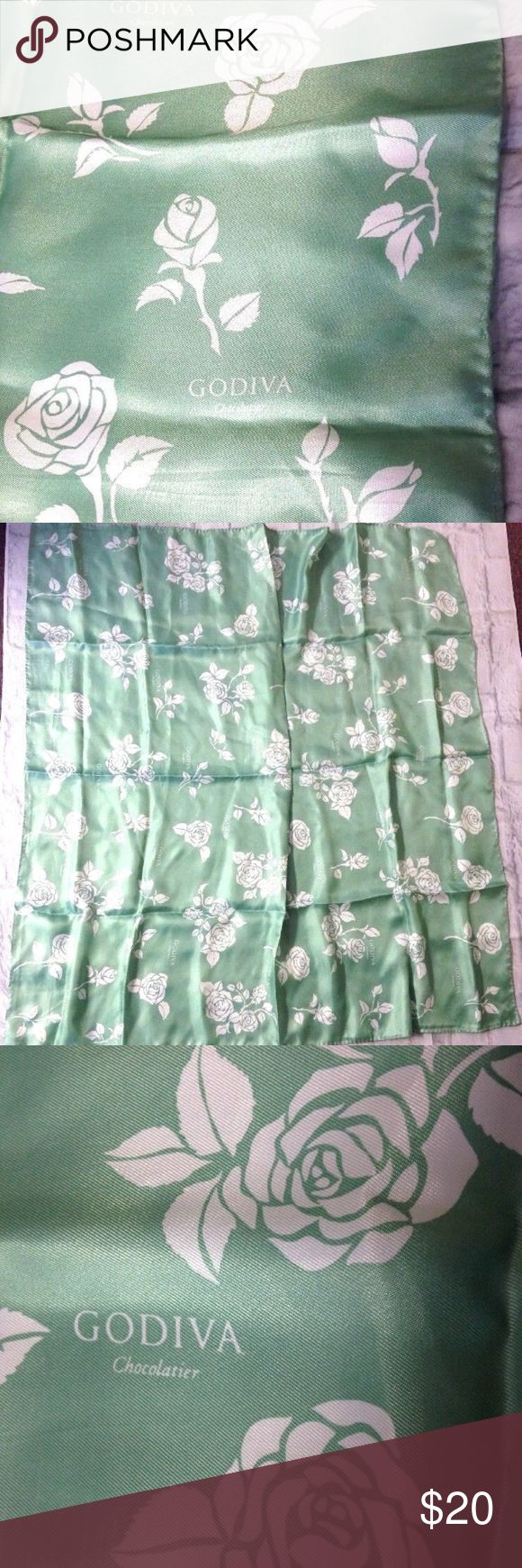 GODIVA CHOCOLATIER 34'' SQUARE SCARF mint green NICE GODIVA CHOCOLATIER 34'' SQUARE SCARF  SILKY POLYESTER FABRIC MINT GREEN & WHITE COLORS  EXCELLENT CONDITION, LOOKS UNWORN  SEE PICTURES FOR DETAILS  Contact me if you have any questions godiva Accessories Scarves & Wraps