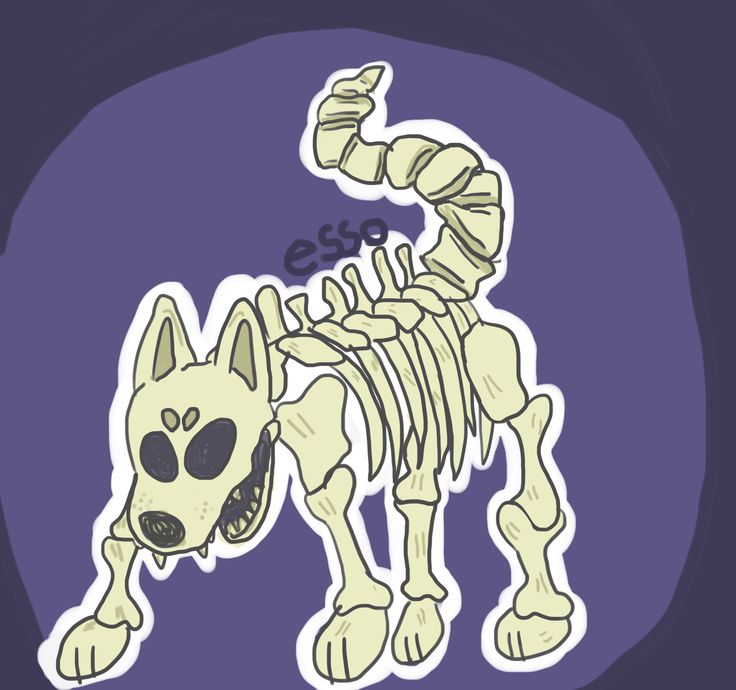 skeleton dog/wolf for @Monkey 'anatomy isnt real'-some dog with blue hair