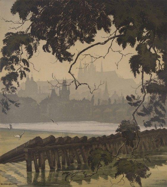 JAROMÍR STRETTI ZAMPONI (1882-1959) Prague river