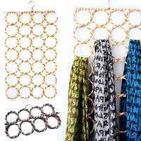 Wish | 28 Ring Scarf Holder Tie Hanger Belt Closet Clothes Organizer Hook Storage