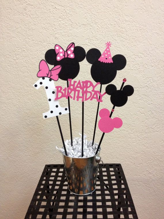 Minnie Mouse Birthday Centerpiece toppers 5 by TheGirlNXTdoor, $9.75
