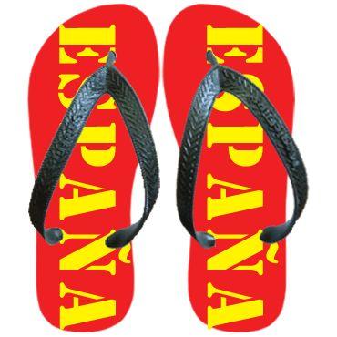Chanclas en rojo con España en amarillo. para ponerse a tono con la marea rojo!. Están disponibles entallas de niños y adultos. Chanclas España | simply colors