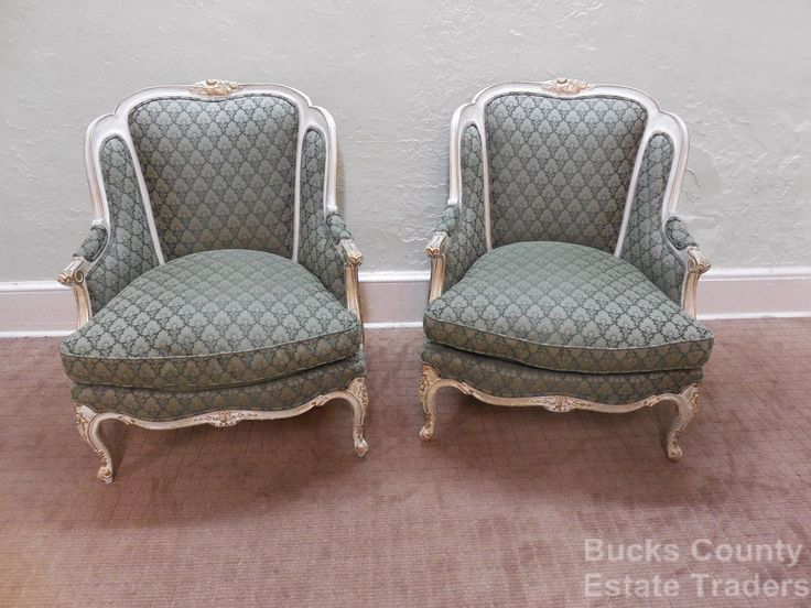 Pair Of Custom French Louis XV Paint Frame U0026 Gilt Bergere Living Room Chairs