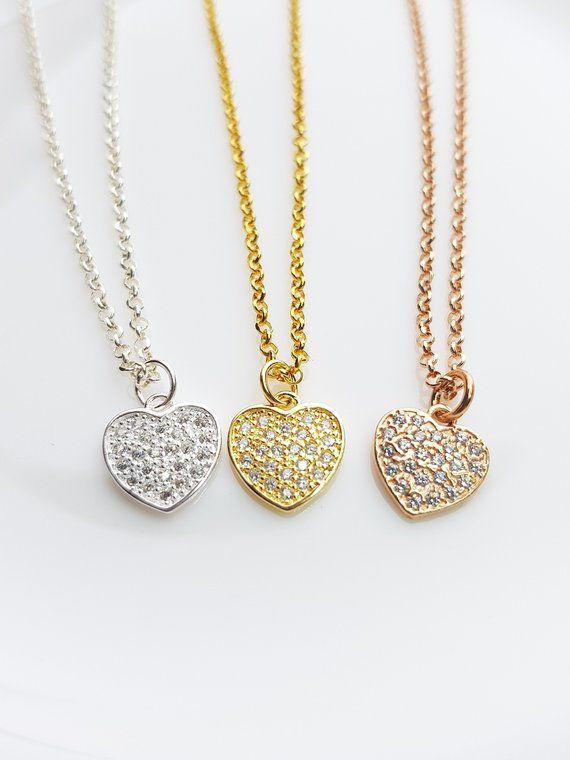 Tiny CZ Coronary heart Necklace Dainty Gold Necklace Minimal Rose Gold Necklace Easy Sterling Silver Necklace On a regular basis Gold Necklace Love Jewellery