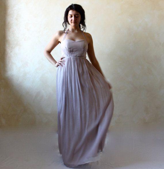 Lavender wedding dress fairy wedding dress silk by LoreTree