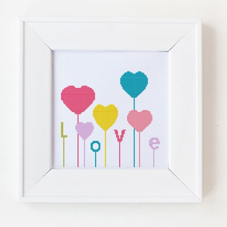 Counted cross stitch pattern, Instant Download, Free shipping, Cross-Stitch PDF; Hearts, love and baloons, valentine's day pattern, MCS003 by MagicCrossStitch on Etsy https://www.etsy.com/listing/176539138/counted-cross-stitch-pattern-instant